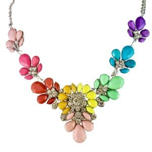 Flower Rhinestone Statement Necklace